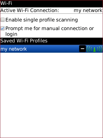 Wi-Fi options with desired Wi-Fi profile
