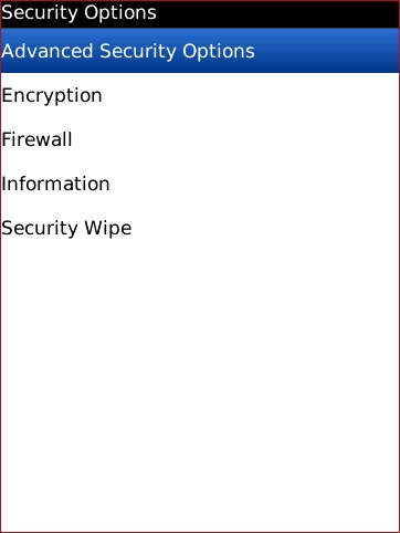 Security Options with Advanced Security Options highlighted