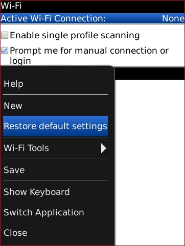 Wi-Fi menu with Restore default settings highlighted