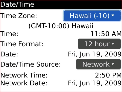 Date / Time screen with Time Zone field highlighted