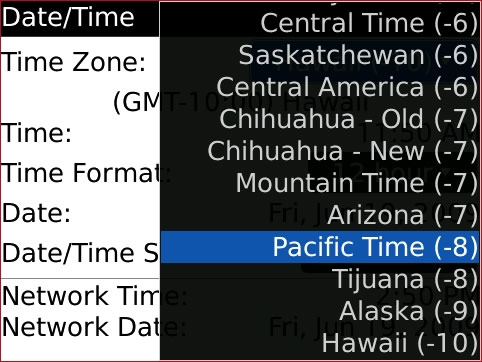 Date / Time screen with desired Time Zone option highlighted