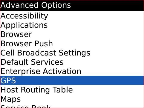Pantalla Advanced Options con GPS seleccionado