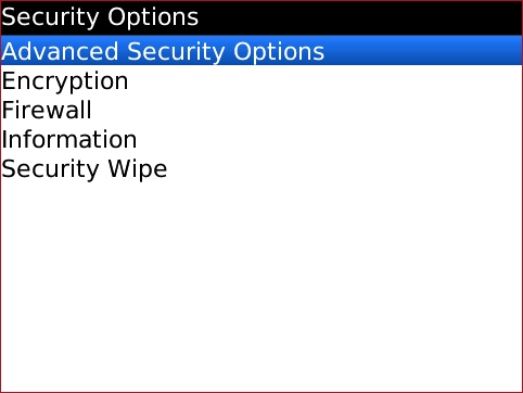 Secuirty Options screen with Advanced Security Options highlighted