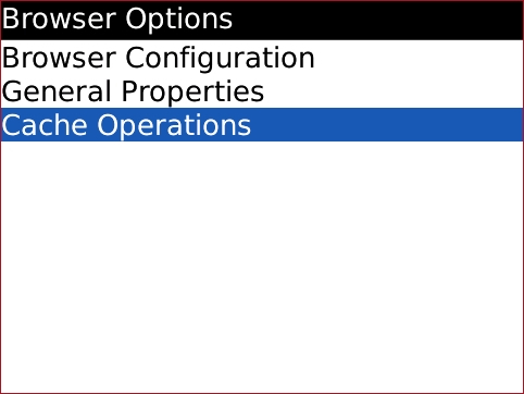 Browser Options screen with Cache Operations highlighted