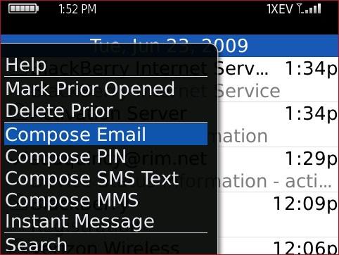 Pantalla Messages con Compose Email seleccionado