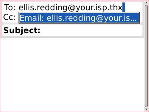 Pantalla Compose email, con la dirección de email deseada