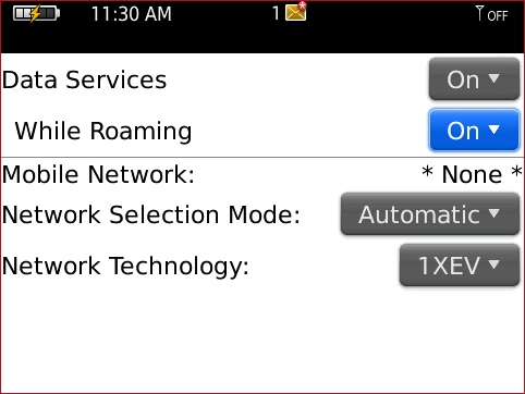 Mobile Network screen with While Roaming highlighted