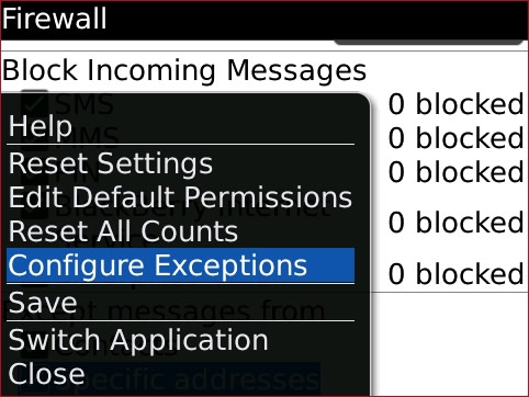Pantalla Firewall con Configure Exceptions seleccionado