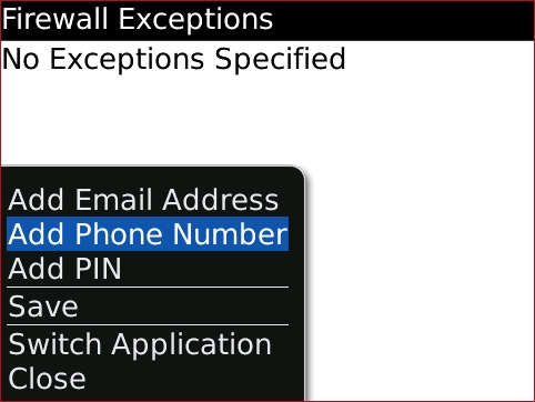 Pantalla Firewall Exceptions con Add Phone Number seleccionado