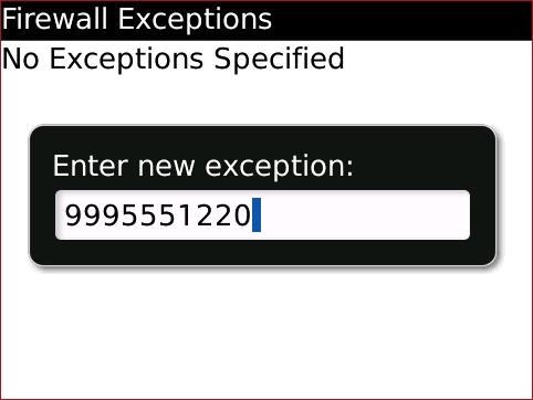 Pantalla Firewall Exceptions con nueva excepción ingresada