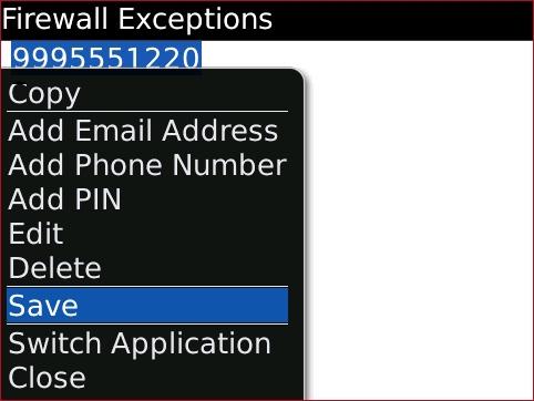 Pantalla Firewall Exceptions con opción Save seleccionada
