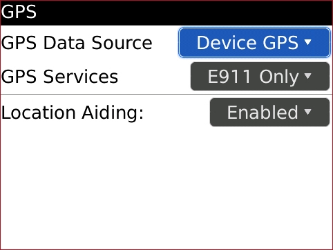 Pantalla GPS con GPS Data Source seleccionado
