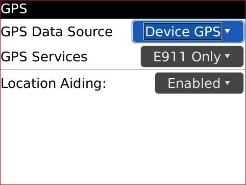 Pantalla GPS con GPS Data Source, opciones del dispositivo