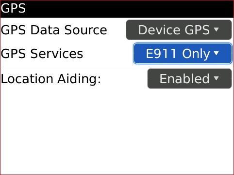 Pantalla GPS con GPS Services seleccionado