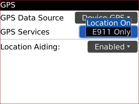 Pantalla GPS con opciones de GPS Services