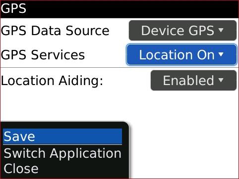 Pantalla GPS con Save seleccionado