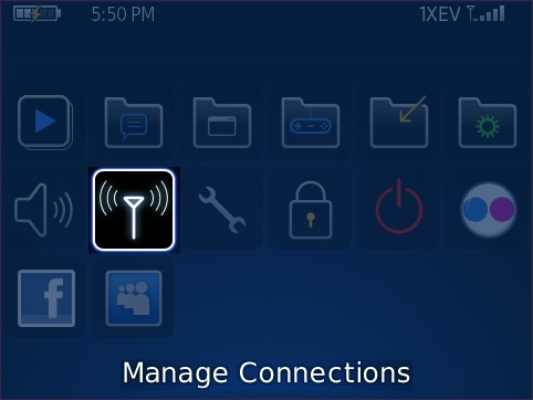 Home screen with Manage Connections highlighted