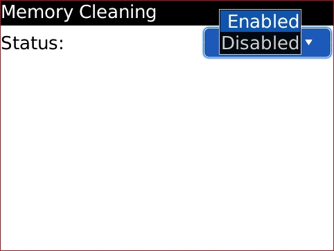 Memory Cleaning screen with desired option highlighted