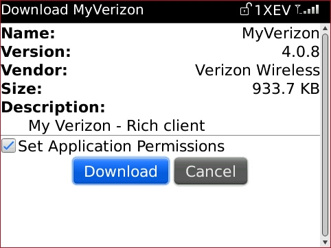 Download screen with Set Application Permissions and Download
