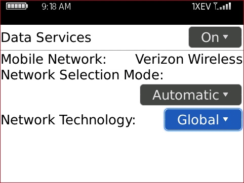 Mobile Network Options screen with Network Technology option highlighted