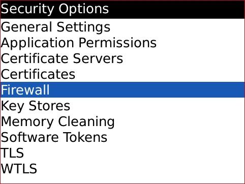 Security Options con Firewall seleccionado
