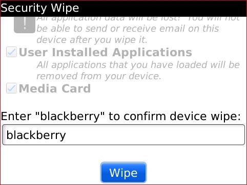 Ingresa BlackBerry y selecciona Wipe