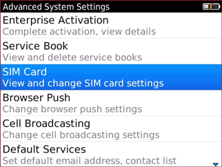 Advanced System Settings y opción SIM Card