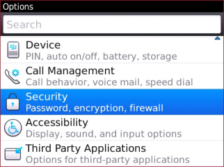 Pantalla de Options con Security Options