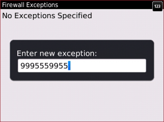 Firewall Exceptions screen with new exception entered