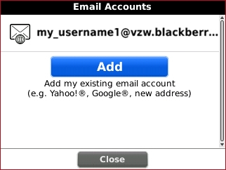 Email accounts screen with Add