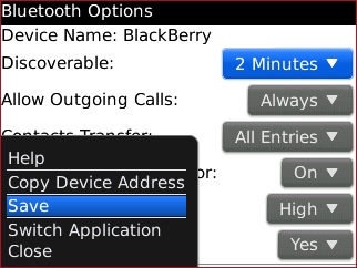 Bluetooth options menu with Save