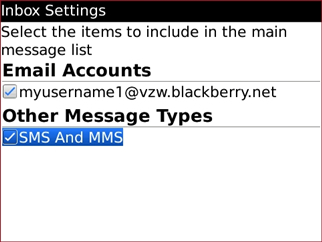 General Options with desired SMS and Email Inboxes setting