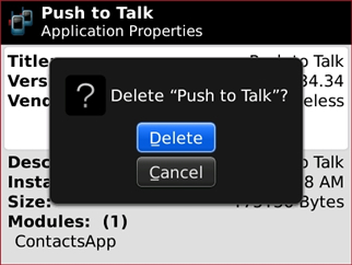 Delete Push to Talk prompt with Delete
