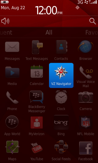 Home screen All tray with VZ Navigator