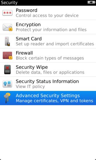 Pantalla Security con opción Advanced Security Settings resaltada