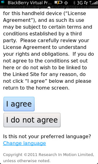User agreement with I agree