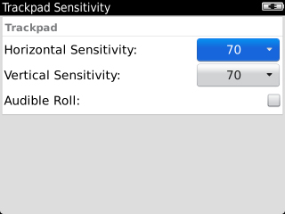 Trackpad Sensitivity with Horizontal Sensitivity field