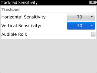 Trackpad Sensitivity with Vertical Sensitivity field