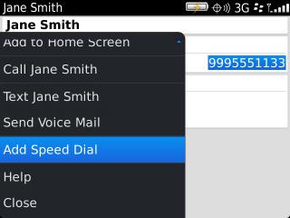 Select speed dial from menu