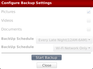 Configure Backup Settings y opción Close
