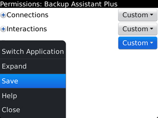 Save Application Permissions Settings