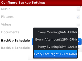 Backup Schedule Time Setting