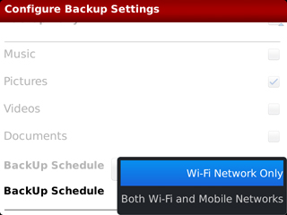 Backup Schedule Netowrk Setting