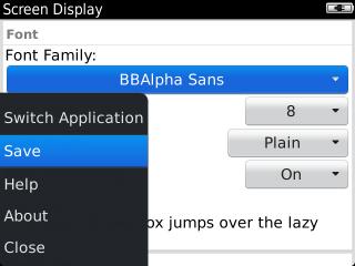 Menú de la pantalla Screen y opción Save