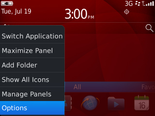 Home screen menu with Options