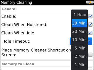 Memory Cleaning menu with Save