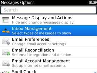 Messages Options con Inbox Management
