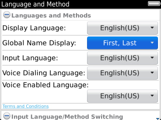 Language Settings with Global Name Display field