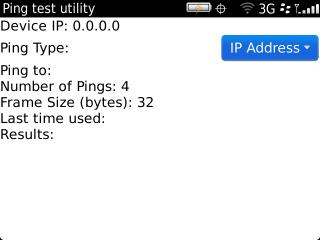 Ping test utility con tipo de Ping actual