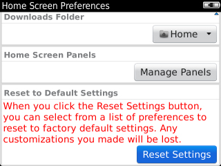 Home Screen Preferences with Reset Settings